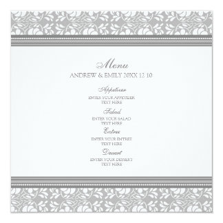 "Wedding Menu Gray Floral Damask 5.25"" Square Invitation Card"