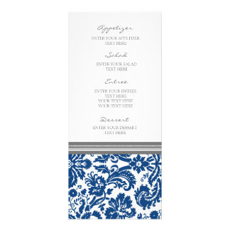 Wedding Menu Grey Blue Damask Pattern Full Color Rack Card