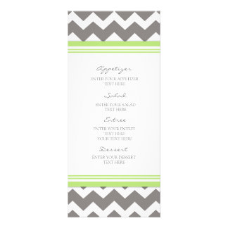 Wedding Menu Lime Gray Chevron