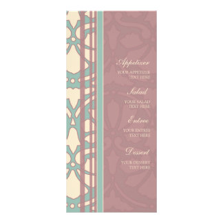 Wedding Menu Pink and Turquoise Customized Rack Card
