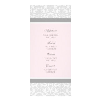 Wedding Menu Pink Gray Damask