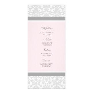 Wedding Menu Pink Gray Damask Rack Card