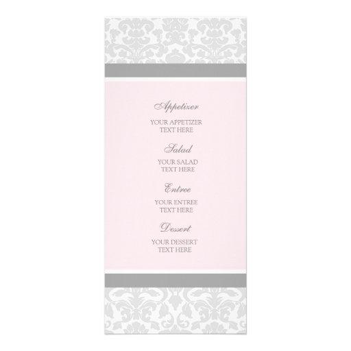 Wedding Menu Pink Gray Damask Personalized Rack Card