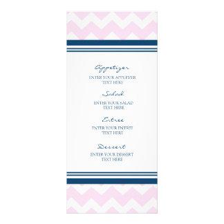 Wedding Menu Pink Navy Blue White Chevron