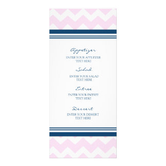 Wedding Menu Pink Navy Blue White Chevron Full Color Rack Card