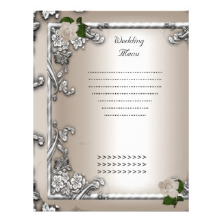 Wedding Menu Program Cream Rose White