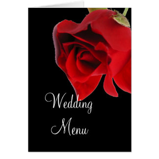 Wedding menu red rose on black card