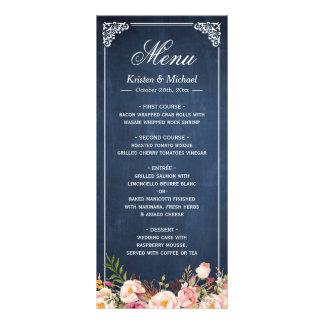 Wedding Menu Rustic Floral Vintage Blue Chalkboard