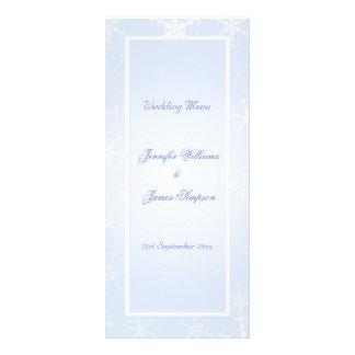 Wedding Menu Template Winter Snowflakes Blue White