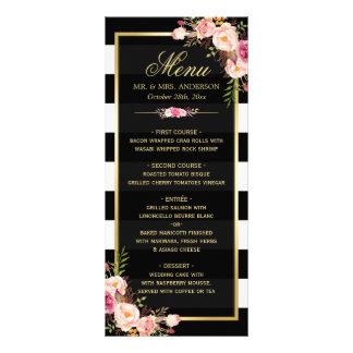 Wedding Menu Vintage Floral Black White Striped Rack Card Template