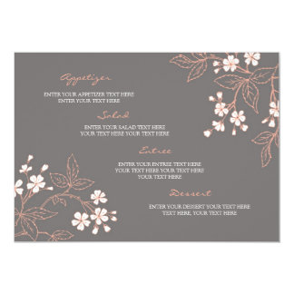 "Wedding Menu Vintage Floral Coral Gray 5"" X 7"" Invitation Card"