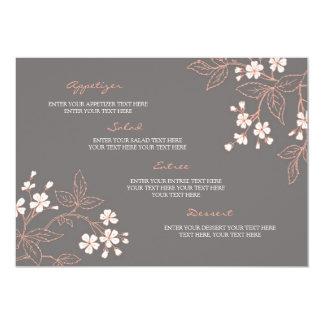 """Wedding Menu Vintage Floral Coral Gray 5"""" X 7"""" Invitation Card"""