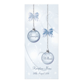 Wedding Menu Winter Baubles and Bows in Blue