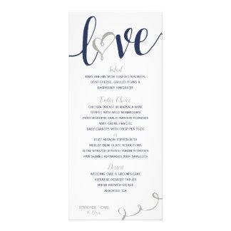 Wedding Menus   Love Script (Navy & Gray )