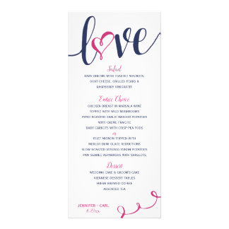 Wedding Menus   Love Script (Navy & Magenta Pink )