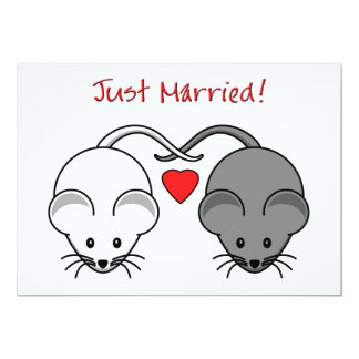 Wedding Mice Black White Married Card