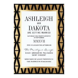 Wedding | Modern Gold & Black Geometric Card