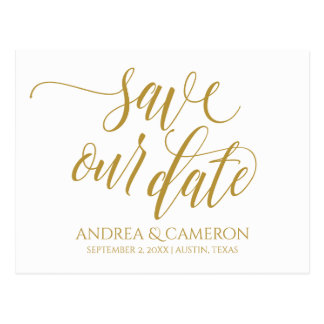 Wedding Modern Typography Save-the-Date | Gold Postcard
