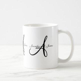 Wedding Monogram A & Names Black White Favor Mug