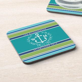 Wedding Monogram Anchor Laurel Wreath Aqua Stripes Beverage Coaster