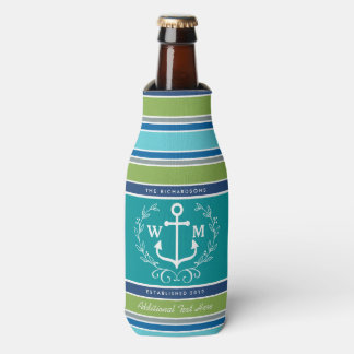 Wedding Monogram Anchor Laurel Wreath Aqua Stripes Bottle Cooler