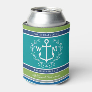 Wedding Monogram Anchor Laurel Wreath Aqua Stripes Can Cooler