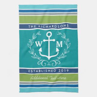 Wedding Monogram Anchor Laurel Wreath Aqua Stripes Hand Towel