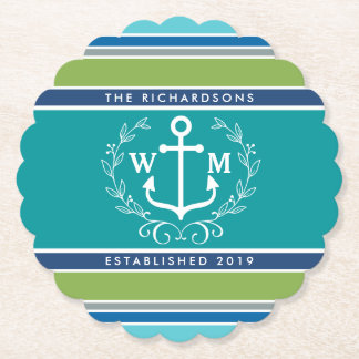 Wedding Monogram Anchor Laurel Wreath Aqua Stripes Paper Coaster