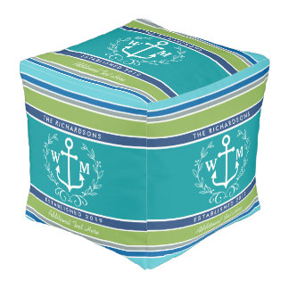 Wedding Monogram Anchor Laurel Wreath Aqua Stripes Pouf