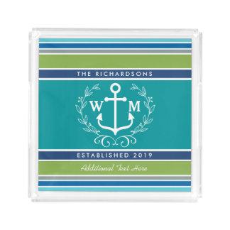 Wedding Monogram Anchor Laurel Wreath Aqua Stripes Serving Tray