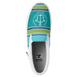 Wedding Monogram Anchor Laurel Wreath Aqua Stripes Slip-On Sneakers