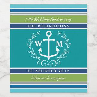 Wedding Monogram Anchor Laurel Wreath Aqua Stripes Wine Label