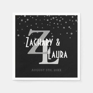 Wedding Monogram | Black Silver Confetti Glitter Disposable Napkin