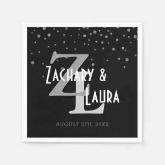 Wedding Monogram | Black Silver Confetti Glitter Napkin