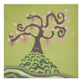 Wedding Monogram Blossom Tree Carving Invite