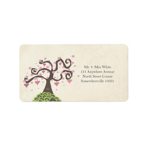 Wedding Monogram Blossom Tree Return Address Label