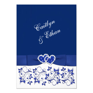 Wedding | Monogram | Blue and White | Floral Card