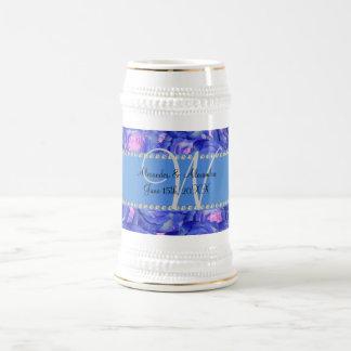 Wedding monogram blue roses mugs