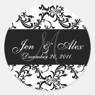 Wedding Monogram Bride Groom Date Paisley Seals Round Sticker