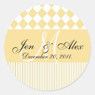 Wedding Monogram Bride Groom Date Seal Yellow Round Sticker