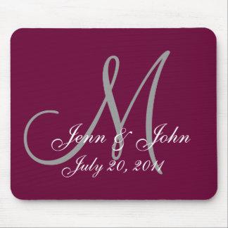 Wedding Monogram Bride Groom Date Wine Mouse Pad