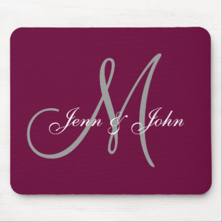 Wedding Monogram Bride Groom Names Mouse Wine Pad Mouse Pad