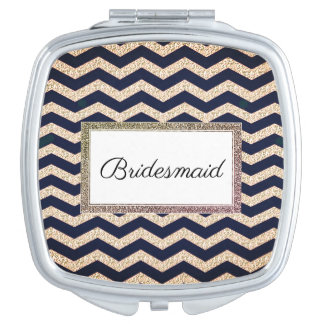Wedding-Monogram-Champagne-Navy-Compact's Mirror For Makeup