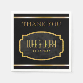 Wedding Monogram | Chic Black Gold Thank You Disposable Napkin