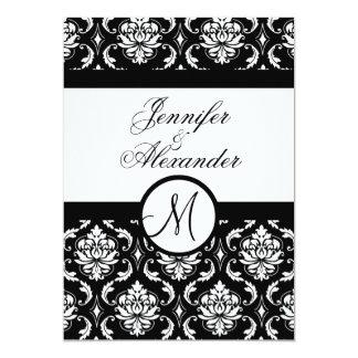 Wedding Monogram Damask Black & White Invitation
