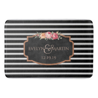 Wedding Monogram | Elegant Black Stripe Bath Decor Bath Mat