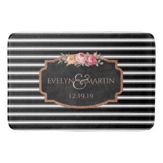 Wedding Monogram | Elegant Black Stripe Bath Decor Bathroom Mat