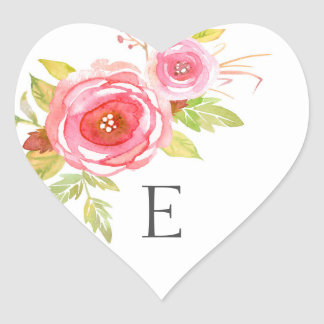 Wedding monogram envelope seals, pink floral 3605 heart sticker