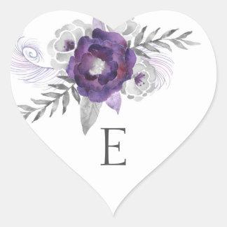 Wedding monogram envelope seals / purple 3963 heart sticker