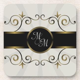 Wedding Monogram Gold Black Elegant Spiral Burst Coaster